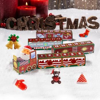 Boże narodzenie 24 dni odliczanie pociąg Xmas pociąg dekoracja prezent pociąg bożonarodzeniowy kalendarz adwentowy Calendrier De L Avent Decoracion tanie i dobre opinie CN (pochodzenie) Miłość Nowoczesne Papier