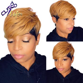 1B30 miód blond kolor Ombre krótki falista Bob fryzura Pixie pełna maszyna nie peruki typu Lace z ludzkich włosów z Bangs dla czarnych kobiet Remy tanie i dobre opinie DREAMING QUEEN HAIR CN (pochodzenie) Remy włosy Brazylijski włosy Średnia wielkość Średni brąz Ciemniejszy kolor tylko