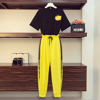 Women's wear 2020 summer sports suit 2 piece set oversized fashion top and pants tracksuit for women suit Plus Size New Style orange plus size 2 piece set women pant and top outfit tracksuit sportswear fitness co ord set 2019 summer large big clothing