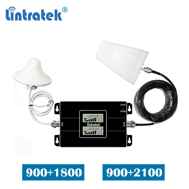 Lintratek Dual Band GSM 900 1800mhz  2100mhz Signal Booster 900mhz 3G 2100 4G 1800 Mobile Phone Repeater Amplifier Set  LCD S8