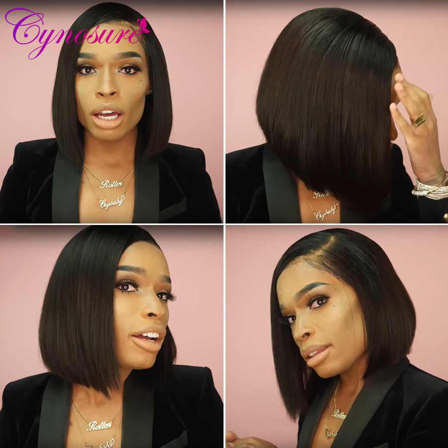 Cynosure 13X5 corto Bob encaje frente pelucas de cabello humano para mujeres negras Remy brasileño encaje recto pelucas frontales color Natural