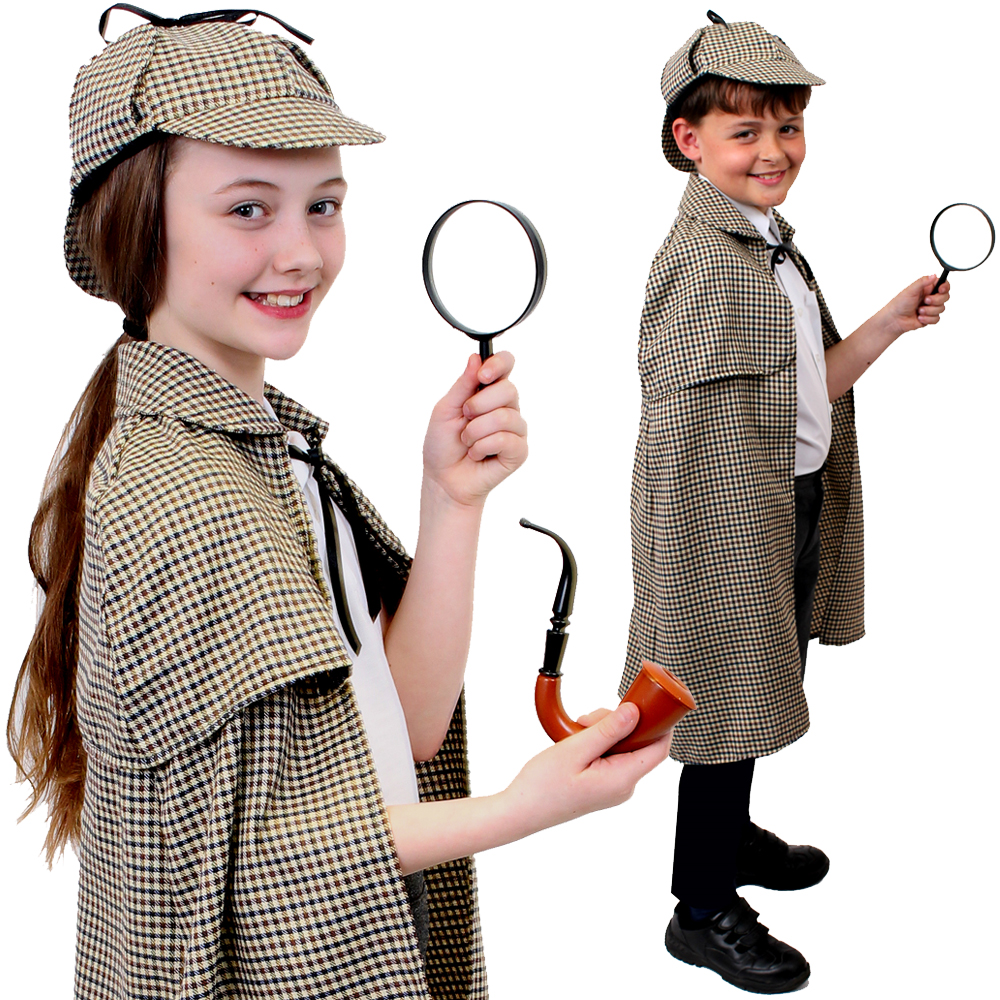 CHILD SHERLOCK HOLMES COSTUME CAPE CLOAK HAT BOY GIRL KIDS DETECTIVE WORLD BOOK DAY FANCY DRESS COSTUME PROP CHARACTER UNISEX