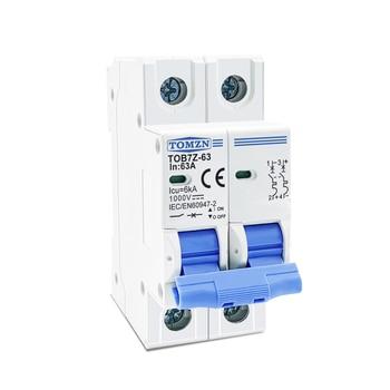 Mini disyuntor solar 2P DC 1000V, interruptor 3A 6A 10A 16A 20A 32A 40A 50A 63A CC con MCB para sistema PV 2