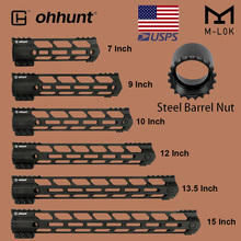 "ohhunt Tactical M LOK Handguard Rail 7"" 9"" 10"" 12"" 13.5"" 15"" M LOK Free Float Hand Guard Picatinny Weaver Mount Steel Barrel Nut"