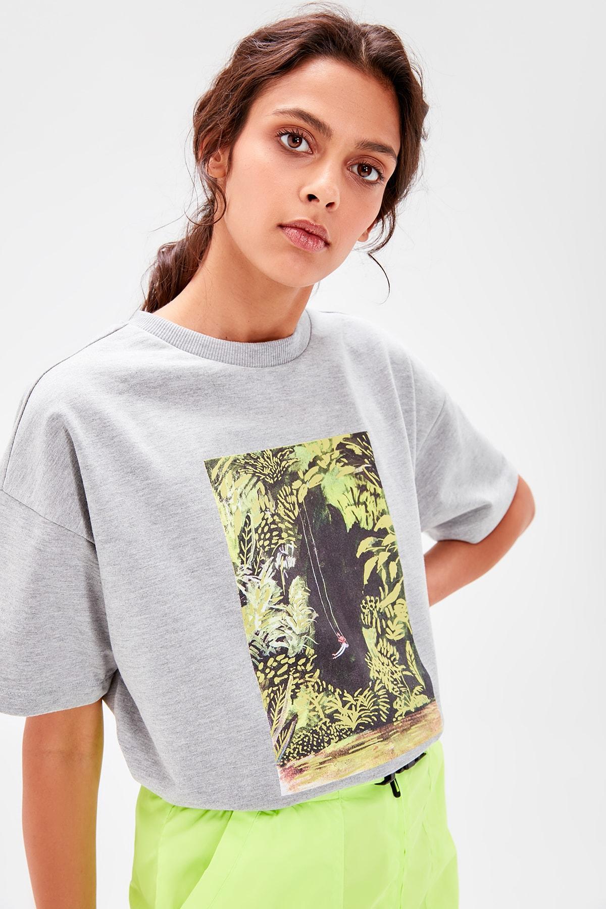 Trendyol Gray Printed Short-Sleeve Knitted Sweatshirt TWOAW20SW0026
