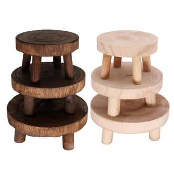 Wooden Plant Stand Flower Pot Base Holder Stool Long Bench High Stool Balcony Succulent Orchid Flower Shelf For Indoor Outdoor