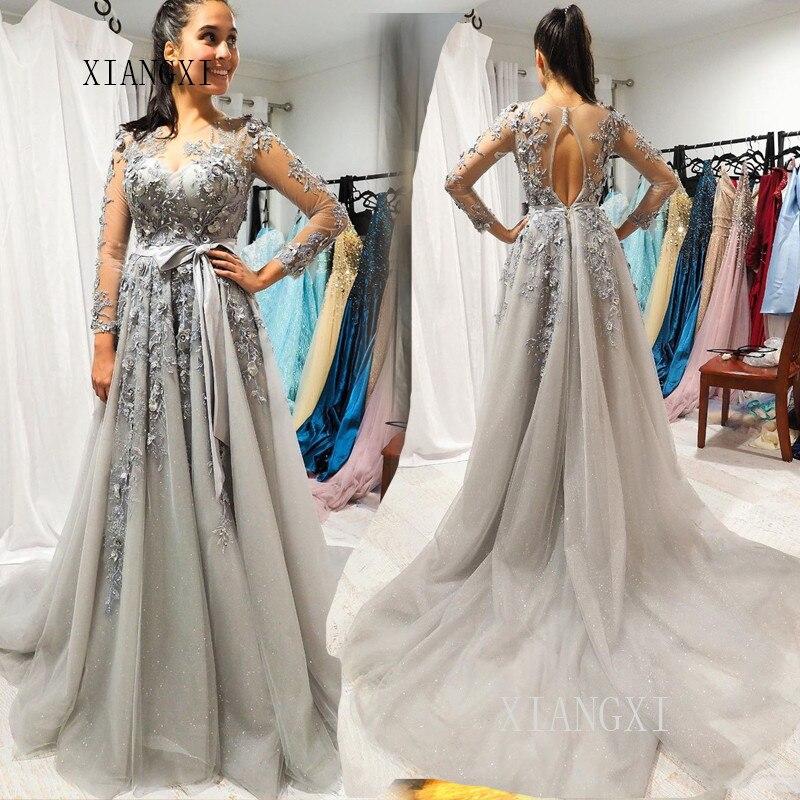 Vestidos Silver Long Evening Dress Jewel Neck Full Sleeves Floor Length Formal Gowns 3D Flower Evening Dresses Vestidos