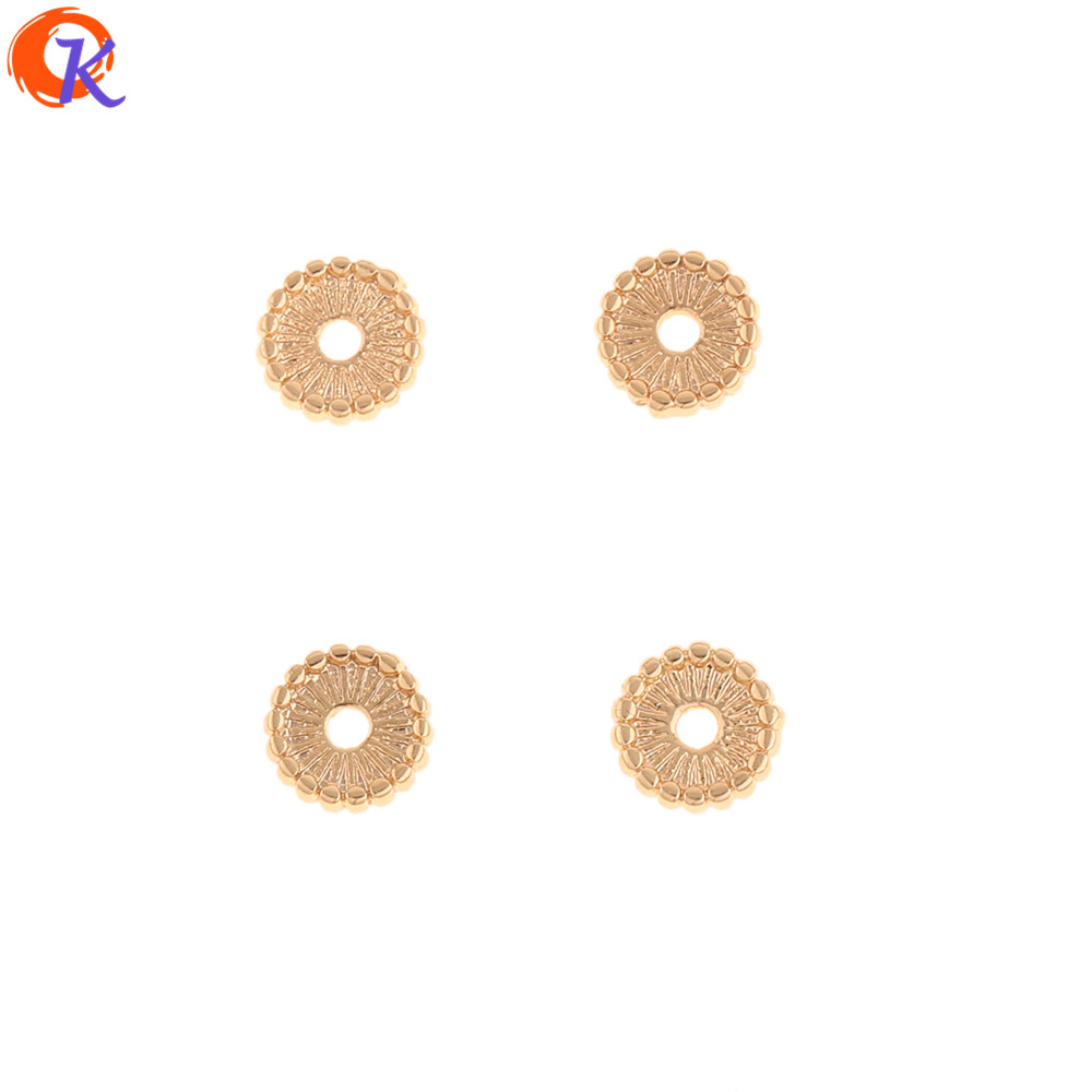 Cordial Design 100Pcs 8*8MM Jewelry Accessories/DIY Earrings Making/Flower Shape/Genuine Gold Plating/Hand Made/Earring Findings