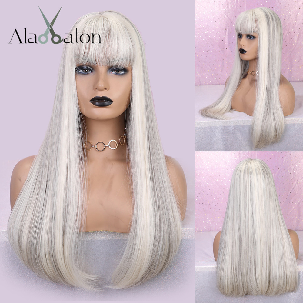 ALAN EATON Synthetic Hair Long Straight Green White Blown Blonde Ombre Full Head Wigs Women High Temperature Fiber With Bangs