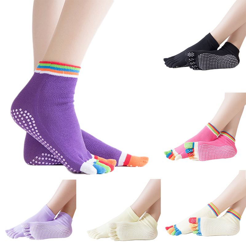 Women Sports Colorful Yoga Socks Hot Fitness And Pilates Cotton Socks  Non-slip 5 Toe  Ballet Gym Breathable Socks Winter