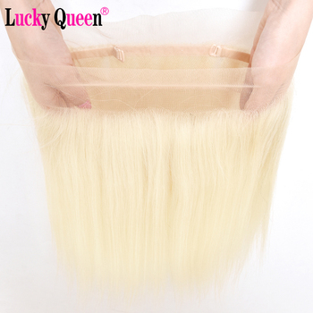 Brazilian Straight Pre Plucked 613 Blonde 360 Lace Frontal 100% Human Hair Transparent Lace Remy Hair Frontal Lucky Queen Hair