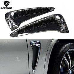 Wymiana styl dla BMW serii X X5M F85 X5 F15 z włókna węglowego błotnik światła wykończenia 2014-UP przedni błotnik boczna pokrywa wentylatora wykończenia