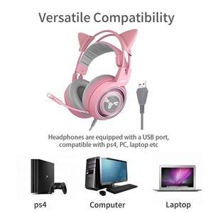 Image 2 - SOMIC G951s Rosa Katze Kopfhörer PC Gaming headset Gamer 3,5mm Bass Wired Gaming Headset Vibration Headset mit Mic für PC Gamer
