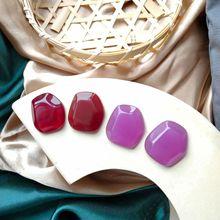 korean  Earrings exaggerated geometry Transparent wine red resin grape purple lovely asymmetric ear clip earrings new arrivals