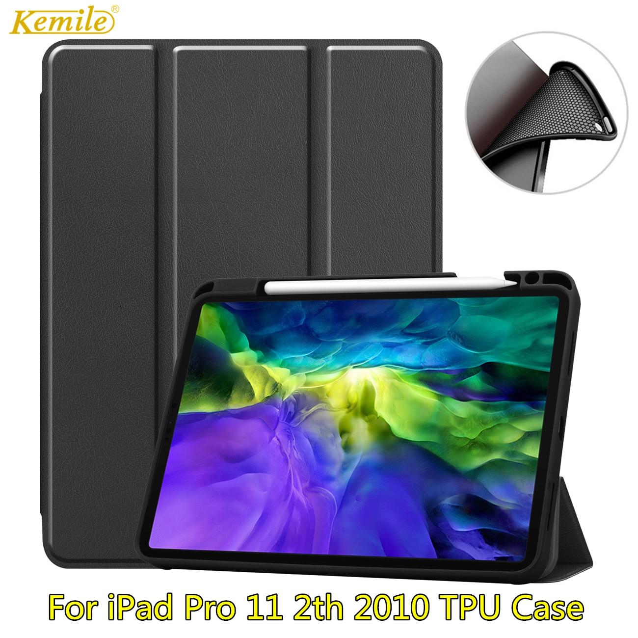 Étui en cuir Ultra mince avec porte-crayon pour iPad Pro 11 2020, coque intelligente à triple pli, léger, pour iPad Pro 11 2e 2020