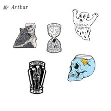 5 styles Skeleton Coffin Enamel Pin Ghost Hourglass Brooch Denim clothes bags Sample Punk Jewelry Gift For Friends