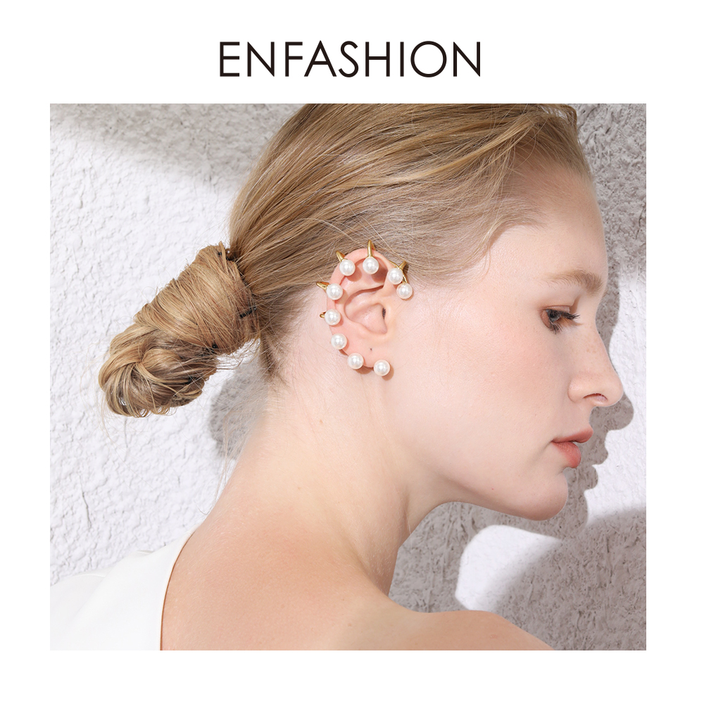 ENFASHION Pearl Ear Cuff Clip On Earrings For Women Gold Color Big Earcuff Earings Without Piercing Jewelry Pendientes EC191067(China)