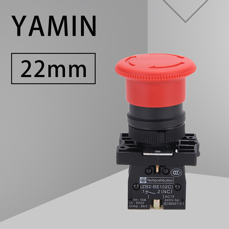 P172 Red NC 22mm Emergency Stop Mushroom Push Button Switch XB2-ES542 Control Electrical Starter Switch 220V 10A