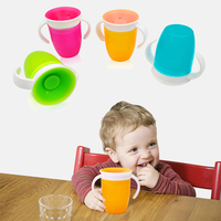 Kids Water Feeding Bottle 360 Degrees Rotated Baby Learning Drinking Glass with Double Handle Flip Lid Leak Proof Magic Cups|Cups & Saucers|   -