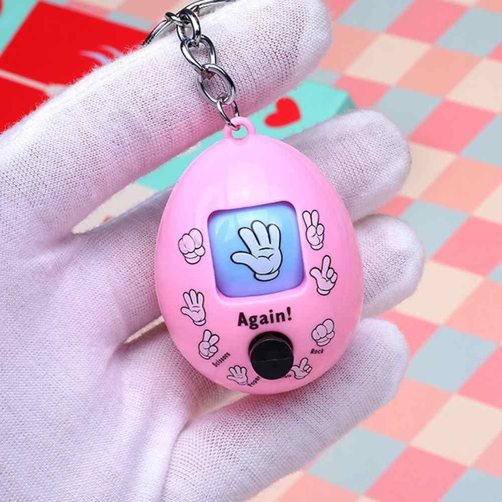 Woqook Brain Game 4PCS Rock-Paper-Scissors Keychains Mini Egg-shaped Keychain with Rock-Paper-Scissors Colourful