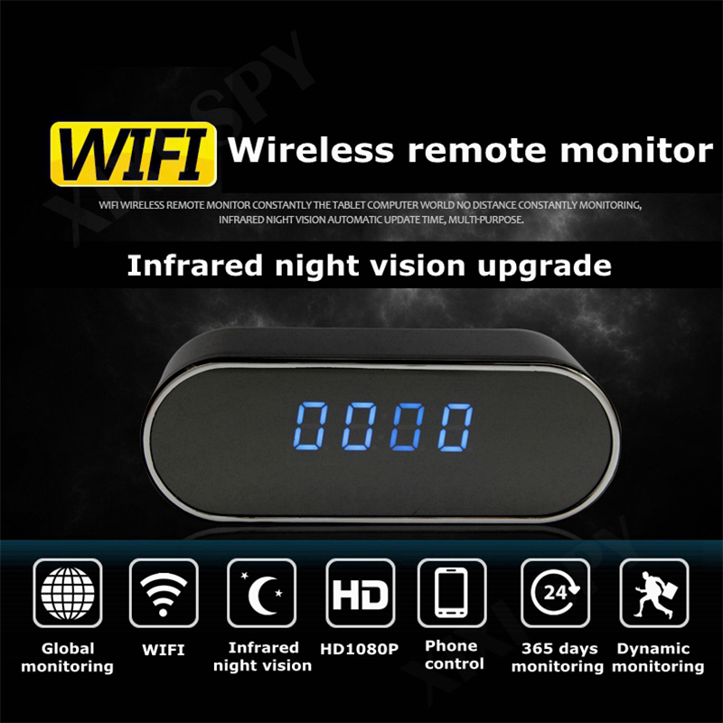 1080P HD mini camera Night Vision Wireless WIFI Electronic Clock IP Remotely Monitor Cam Video recorder Camcorder brand xixi spy image