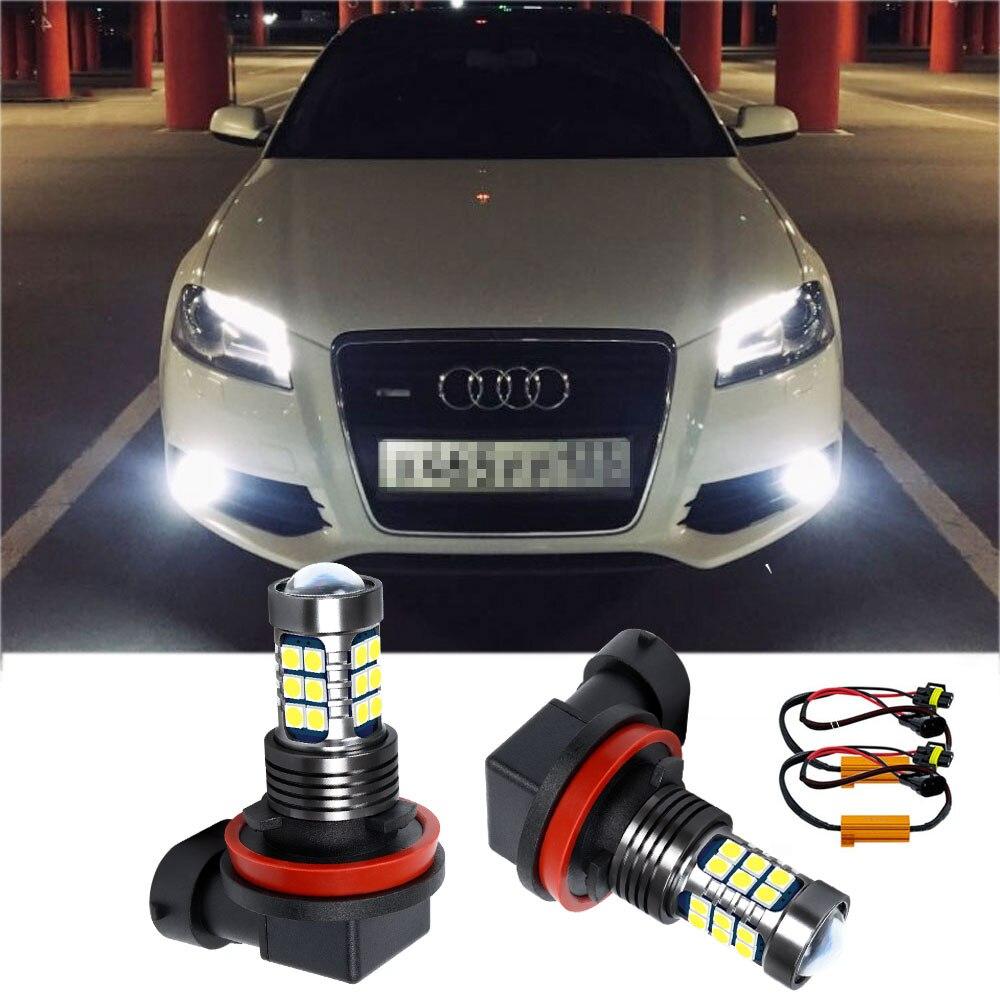 2PCS H8 H11 LED Fog Light Bulb + Canbus Decoders Erro Free DRL For AUDI A1 A3 A4 A5 A6 A7 A8L S3 S4 S5 RS3 RS4 RS5 RS7 Q3 Q5 TT