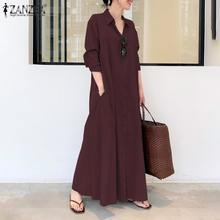 2021 ZANZEA Women Shirt Dress Autumn Lapel Neck Long Sleeve Maxi Sundress Elegant Office Work Solid Long Vestidos Plus Size 5XL