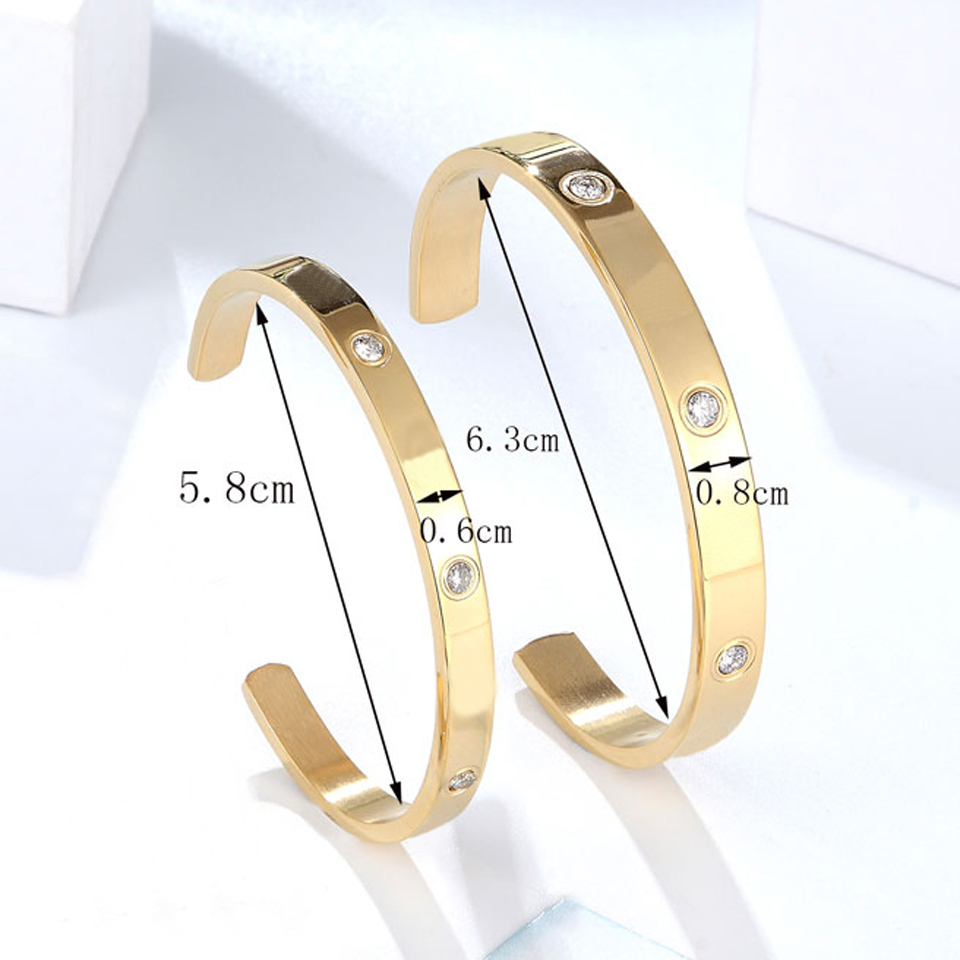Fashion Classic Crystal Cuff Bracelet for Women/Men Gold Color Stainless Steel Bracelets & Bangles Couple Love Jewelry Best Gift 2