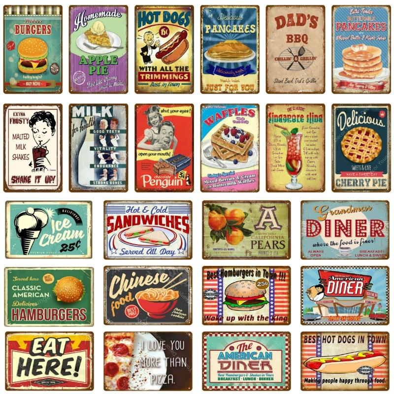 Американский постер для закусочной, китайские блины, гамбургеры, пироги, металлические оловянные вывески, украшение для кафе, кухни, магази...
