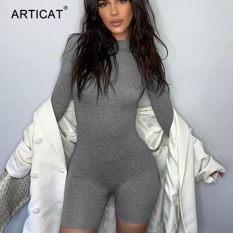 Articat Long Sleeve Skinny Jumpsuit Women Summer 2020 O-Neck Sexy Bodysuit Bodycon Rompers Women Jumpsuit Casual Short Playsuit