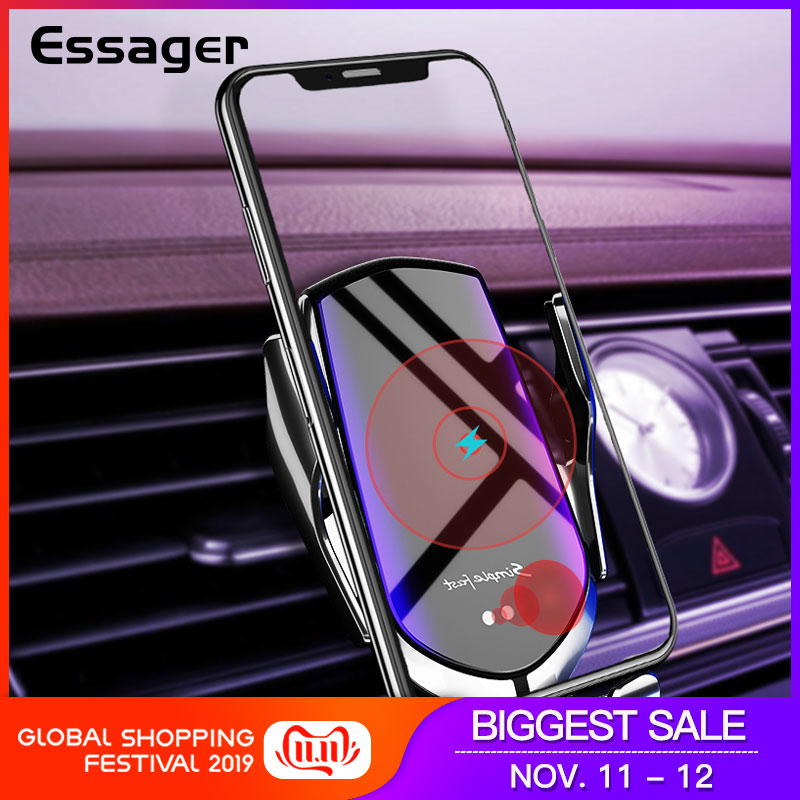 Essager 10W Qi Car Wireless Charger For IPhone 11 Pro XS Max Intelligent Infrared Fast Wireless Charging Mount Car Phone Holder
