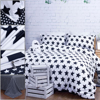 New Bedclothes Black White Plaid Queen/King Size Duvet Cover+Bed Sheet+2 Pillowcases+Neck Roll+2 Throw Pillows 7pcs Bedding Set