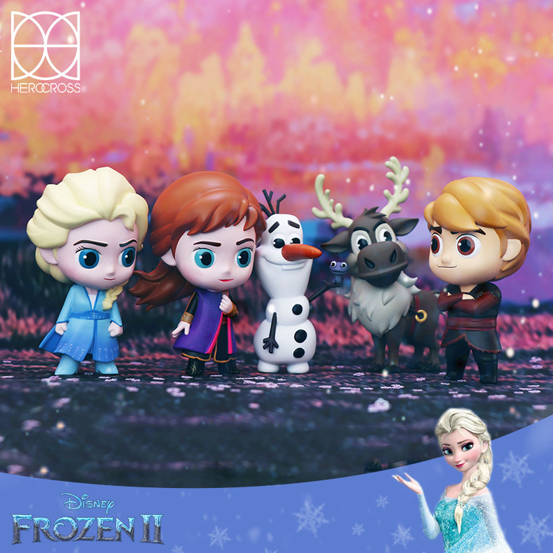 Wansheng Animation Q Edition Frozen Hand-Held Ice and Snow Adventure PVC Doll Disney Frozen Series Princess Prince image