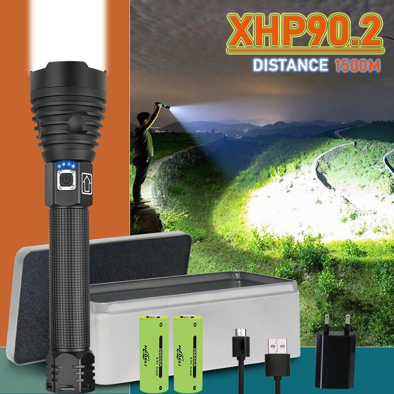 250000 Glare Xhp90.2 Most Powerful Led Flashlight Usb Rechargeable Torch Xhp50 Xhp70 Hand Lamp 26650 18650 Battery Flash Light