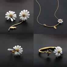 Cute Korean Daisy Stud Earrings For Women Enamel Asymmetric Flower 2021 Summer Trendy Statement Jewelry Girls Lady Gifts