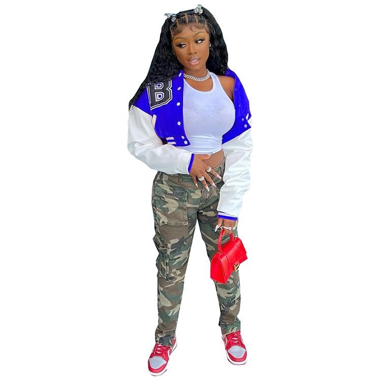H1c223da5e9e5424f9c5909f02cd2292a8 Baseball Jackets for Women 2021 Autumn Letter Print Color Patchwork Cropped Long Sleeve Loose Short Bomber Jacket
