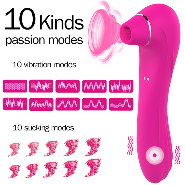 HIWUP Sex Sucking Toys Vibrator Powerful Clitoris Sucker Blowjob Tongue Stimulator Nipple Vagina Pussy Pump Sex Toys for Women 4
