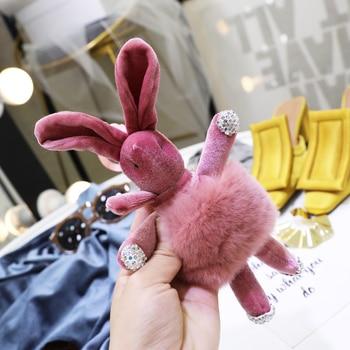 Korean style cute flannel rabbit doll pendant car ornament key chain fashion bag pendant cute cartoon doll pendant cute rabbit style rhinestone pendant necklace pink silver