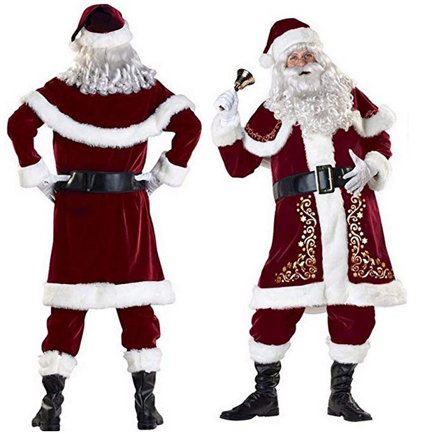 High Quality USA Santa Claus Suit Adult Christmas Costume Red Deluxe Velvet Fancy 9pcs Set Xmas Party Costume