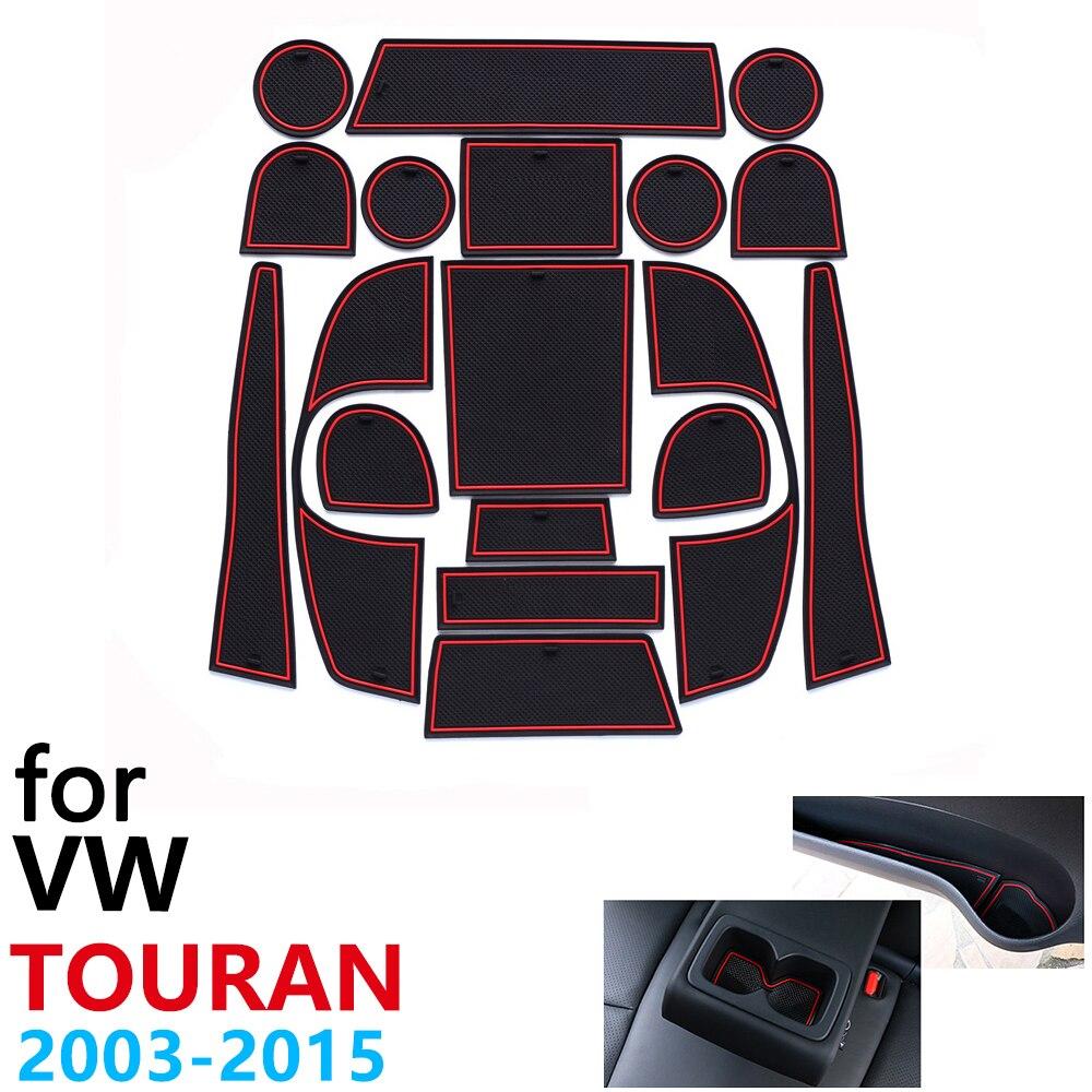 المضادة للانزلاق قاعدة أكواب مطاطية وسادة باب الأخدود حصيرة ل VW Touran volkswagen age MK1 2003 ~ 2015 2006 2009 2012 2014 اكسسوارات حصيرة للهاتف