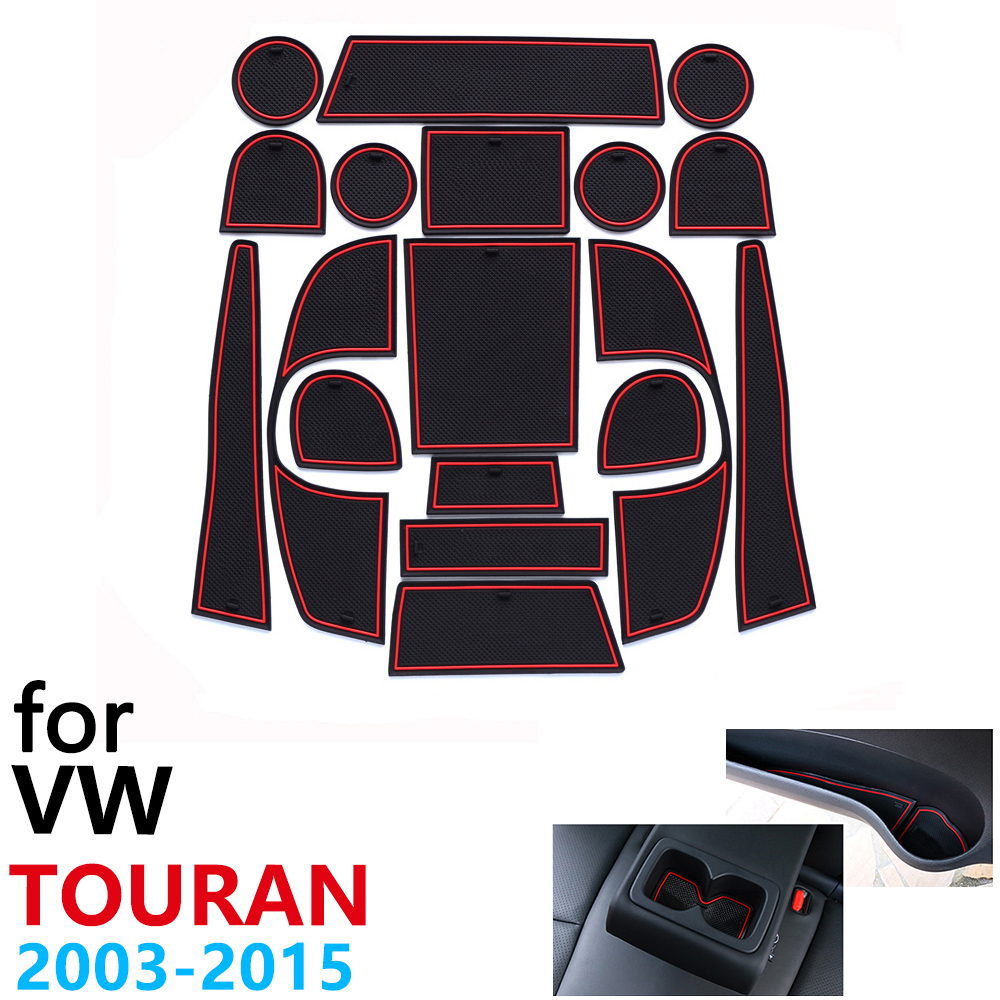 Anti-Slip Rubber Cup Cushion Door Groove Mat For VW Touran Volkswage MK1 2003~2015 2006 2009 2012 2014 Accessories Mat For Phone
