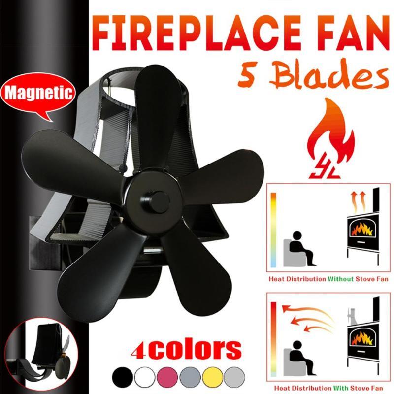 5 Blades Fireplace Fan Low Noise Heat Sink Burner Cooking Stove Thermal Heat Power Fan Aluminum Ventilation Device