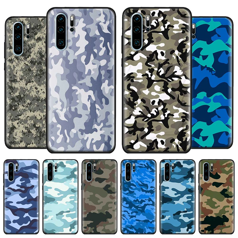 Soft Cases for Huawei P30 Pro P20 Lite P10 P40 Lite P30 P40 Pro P Smart Z Black Cover Capa Camouflage Camo military Army