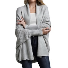 Women's Cardigan Sweater Coats Loose Long Bat Sleeve Knitted Cardigan Sweater Tops Large Size Autumn Knitted Jumpers Outwears bat sleeve geometrical cardigan