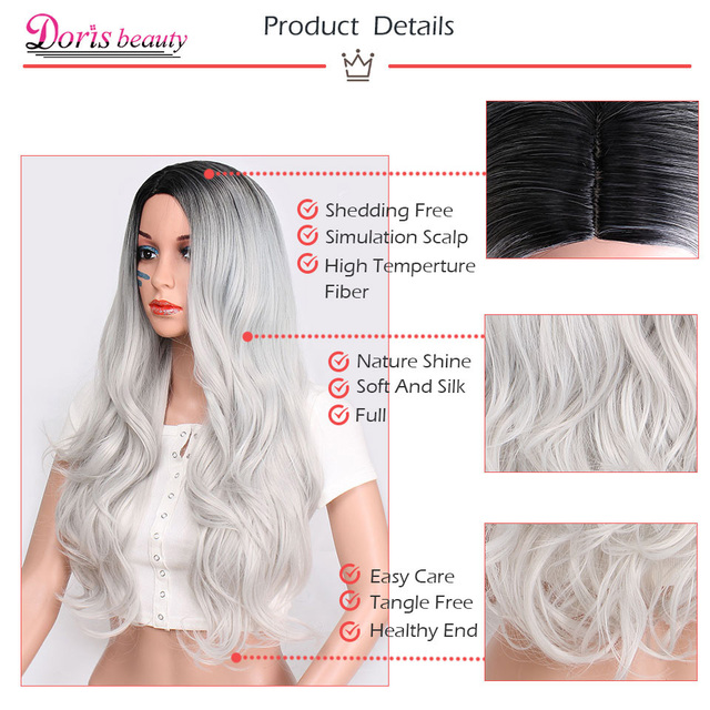 Doris beauty Synthetic Long Wavy Ombre Gray Wig for Woman Cosplay Wig Brown Red Black Blonde Heat Resistant Fiber 4