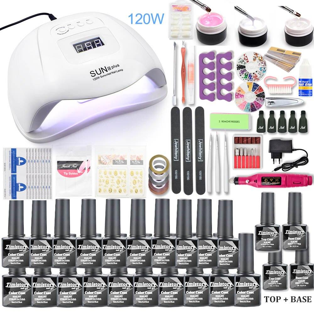 Nail set 120W UV LED LAMP for Manicure Gel nail polish Set Kit Gel Varnish Electric Nail Drill Manicure Sets Nail Art Tools(China)