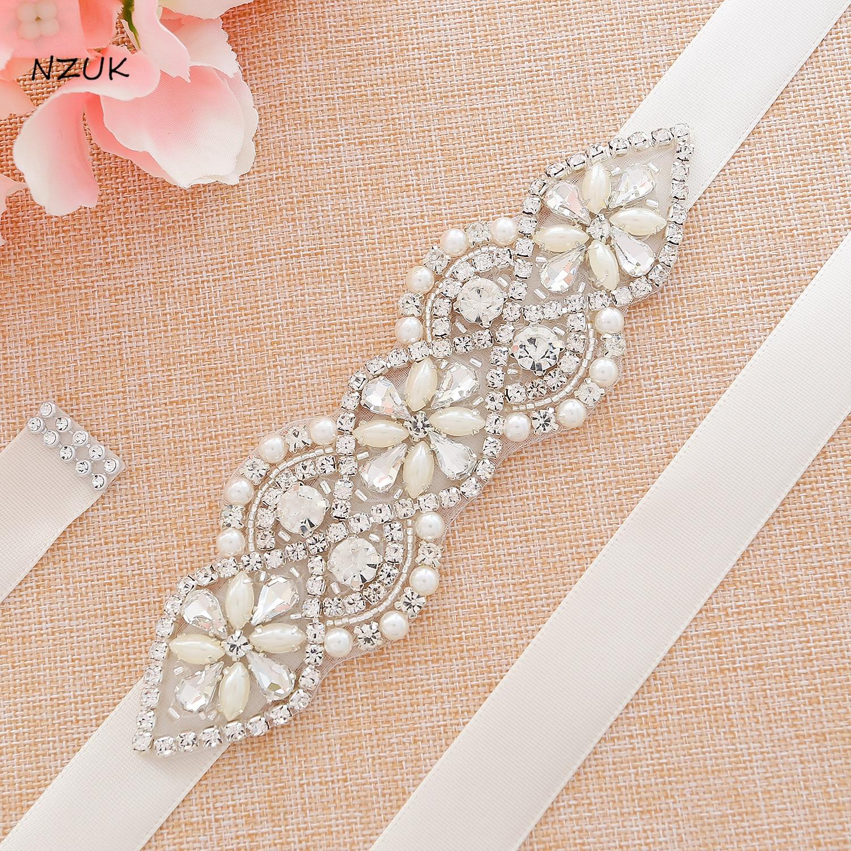Handmade Simple Silver Rhinestones Bridal Belt Sash Pearls Wedding Belt Crystal Bridal Sash For Wedding Dresses Y112S