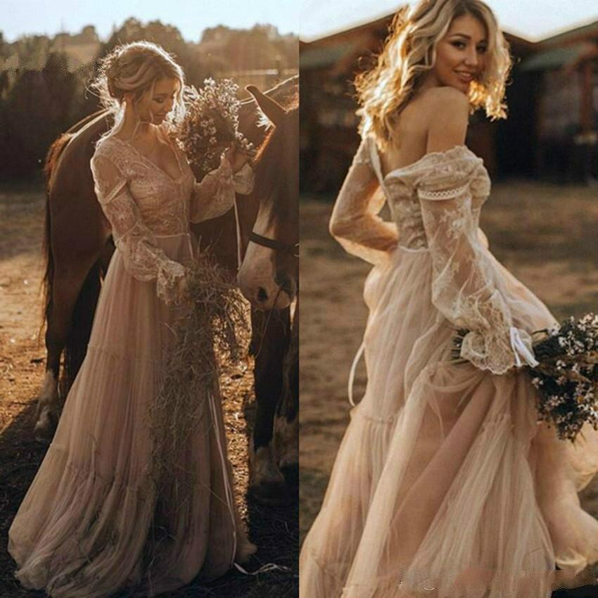 Купить женское свадебное платье в стиле бохо с v образным вырезом и