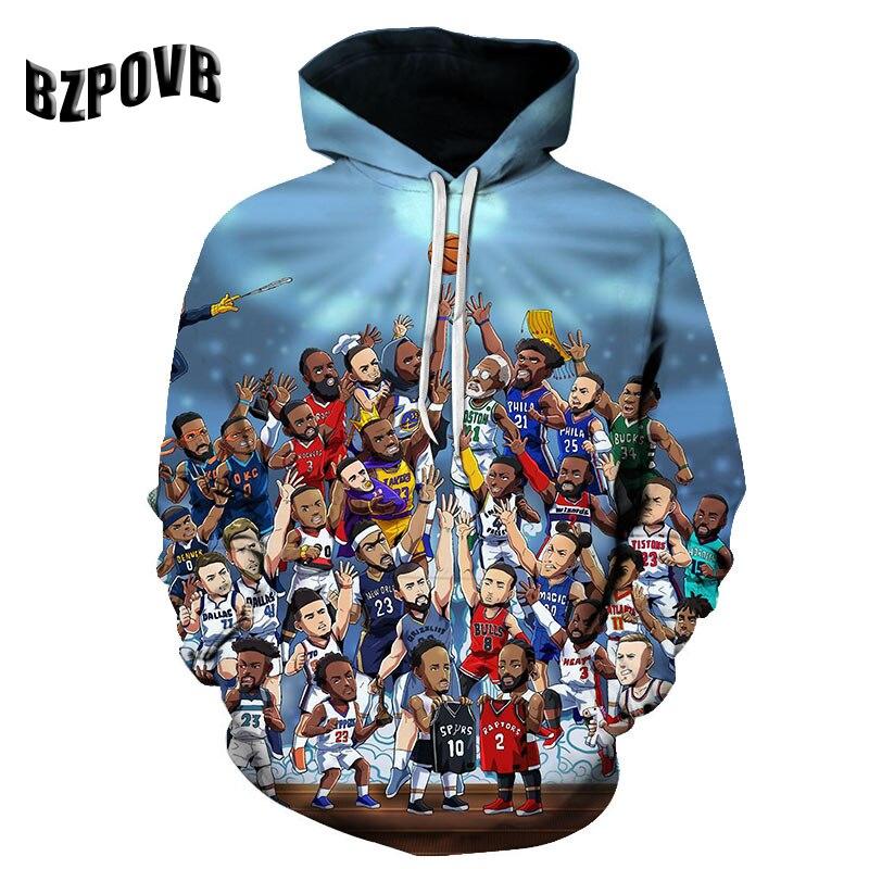 2019 3D Basketball Print Harajuku Sweatshirt Hoodie For Men And Women Hooded Pullover Sport Tops