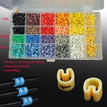 2400 pces 0.75mm2 0.5mm2 EC-0 marcador de cabo 0-9 diferente número colorido misturado fio marcador cabo mangas corte total